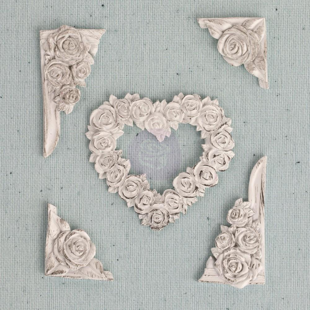 Prima Junkyard Findings Resin Embellishments- Rose Heart Corners