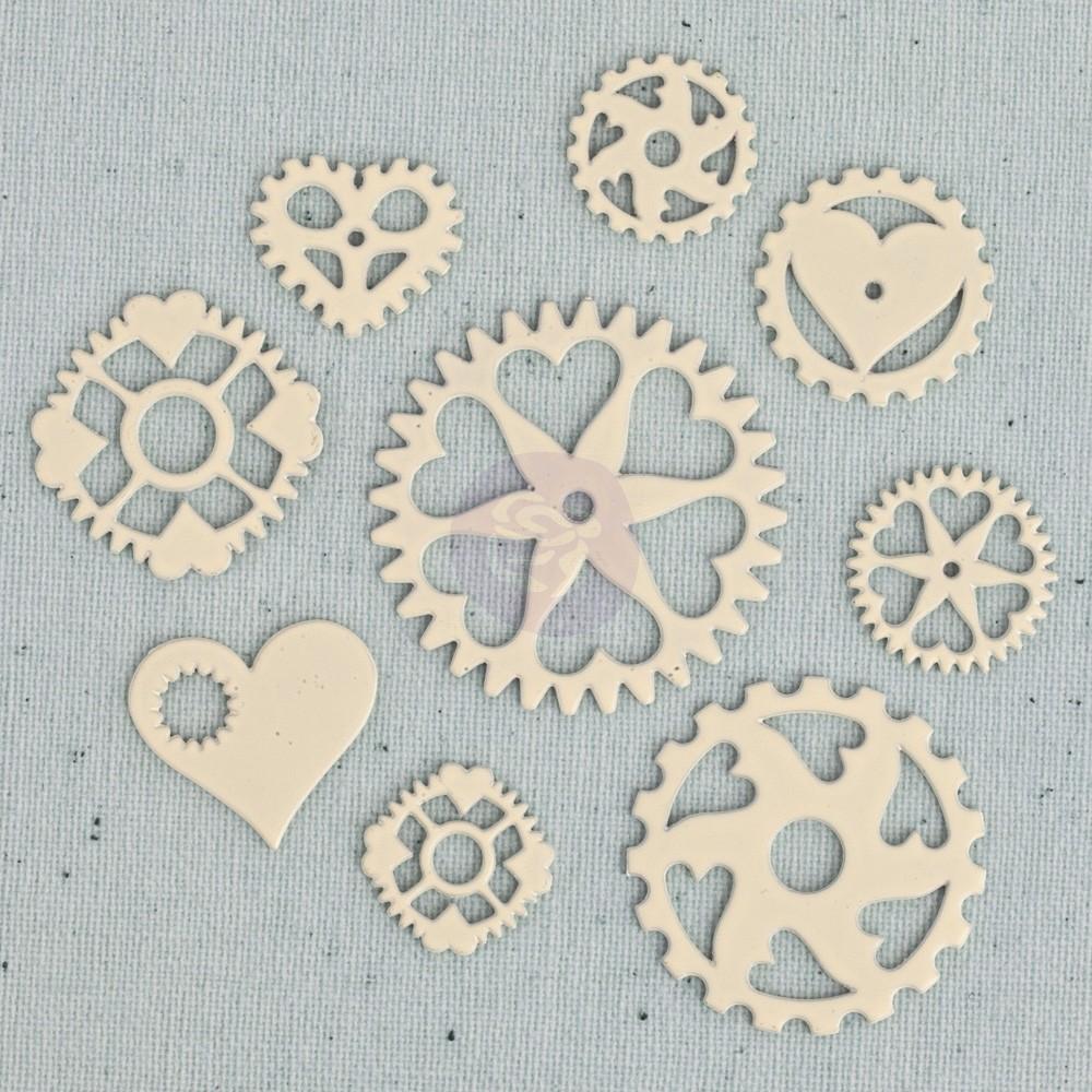 Prima Junkyard Findings Resin Embellishments - Heart Gears