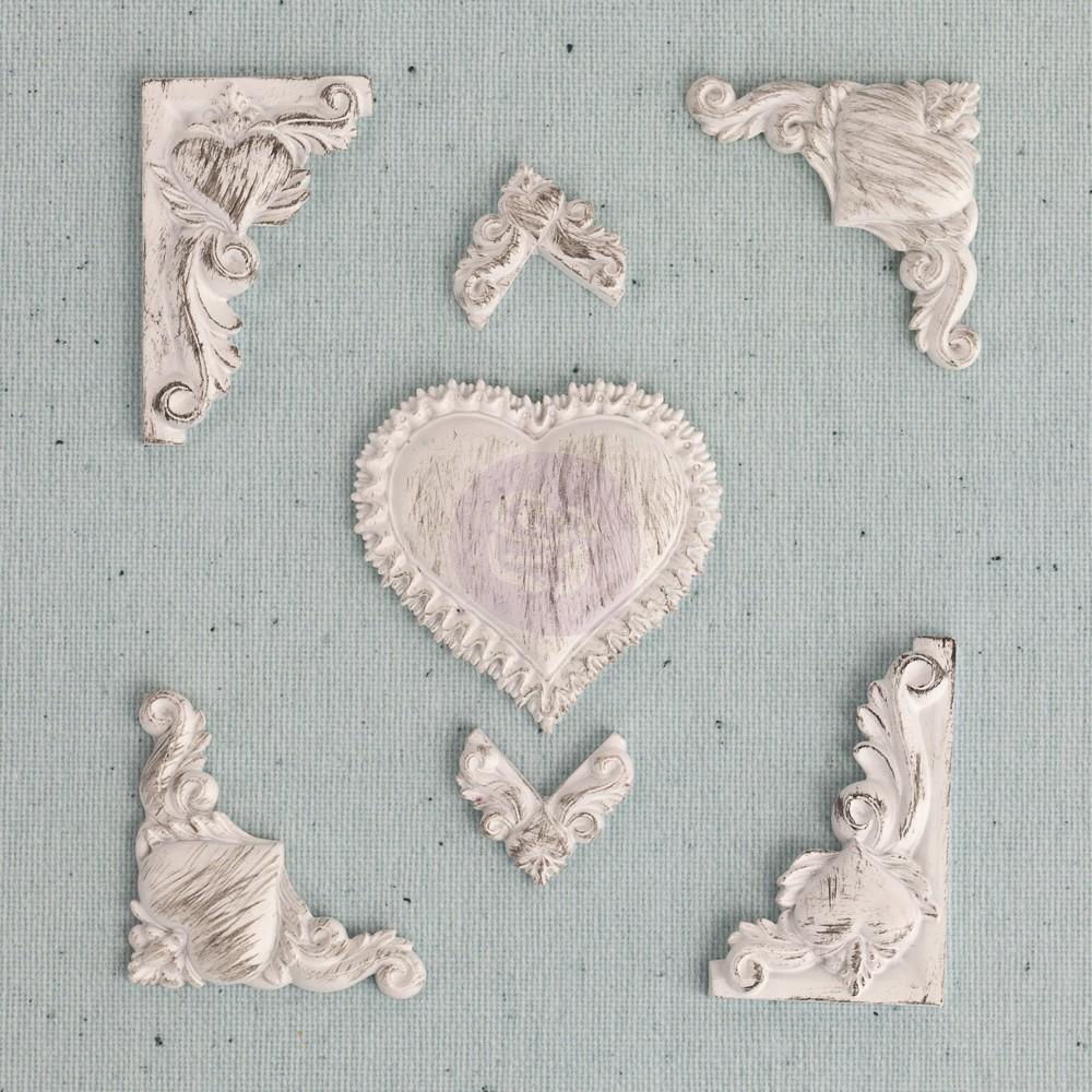 Prima Junkyard Findings Resin Embellishments - Lace Heart