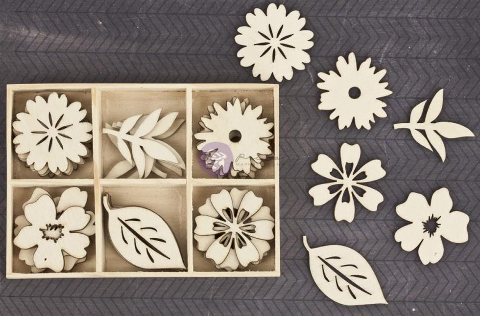 Prima Wood Embellishments - Wild Flowers