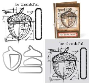 Tim Holtz Acorn Blueprint Framelits and Stamps