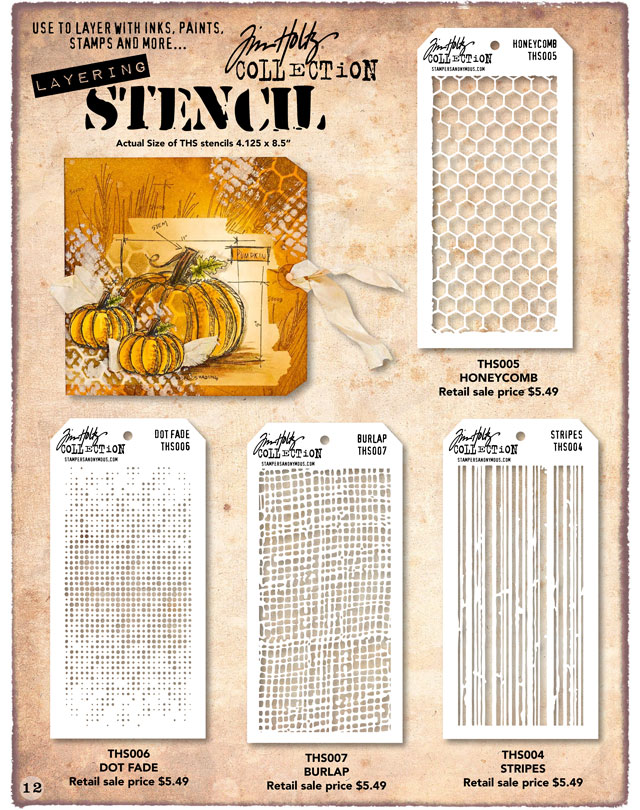 Tim Holtz Stencils Honeycomb, Dot Fade, Burlap, and Stripes