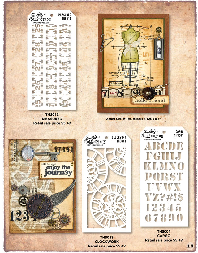 Tim Holtz stencils Measured, Clockwork, and Cargo