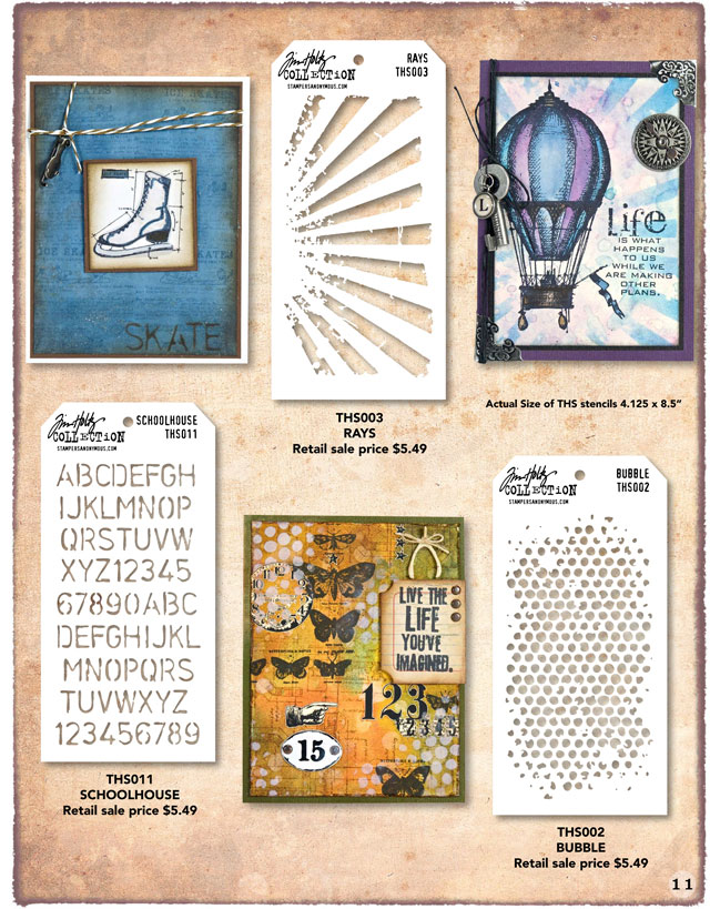Tim Holtz Stencils Rays, Schoolhouse, and Rubble