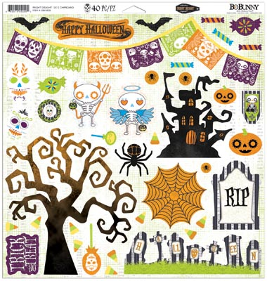 Bo Bunny Fright Delight Chipboard Stickers