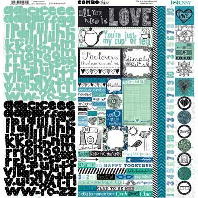 bo bunny zip-a-dee doodle combo cardstock sticker sheet