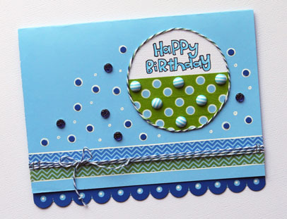 Card Sample - Washi Tape, Baker's Twine, and Jaw Breakers