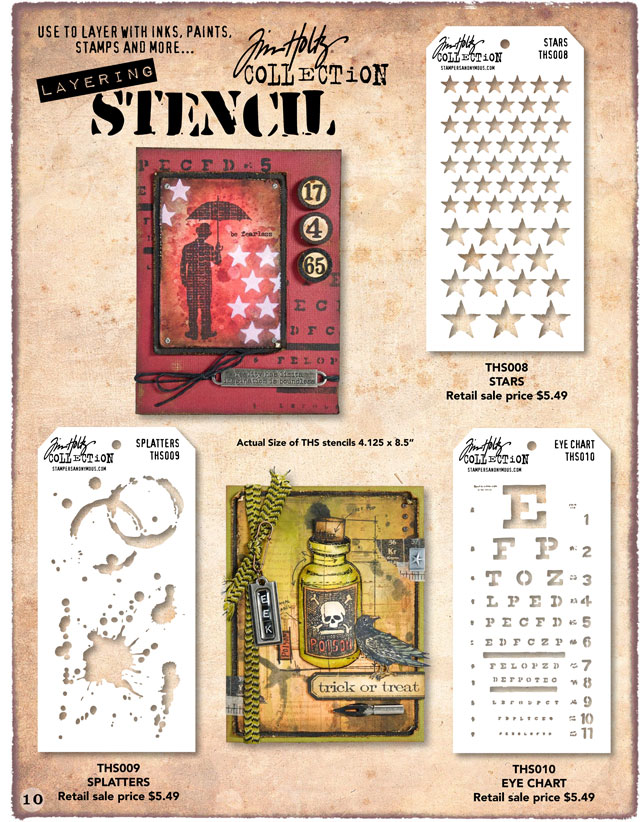 Tim Holtz Layering Stencils Stars, Splatters, and Eye Chart